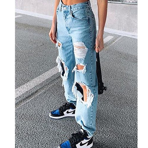 High Waist Women's Baggy Jeans Ripped Holes Show Thin Slim Fit Pants