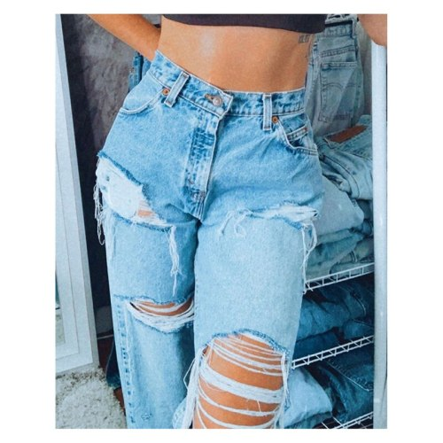 Women Summer Casual Fashion Women Hole Denim Straight Leg Pants