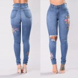 Stretch Embroidered Female Slim Denim Hole Ripped Rose Pattern Jeans