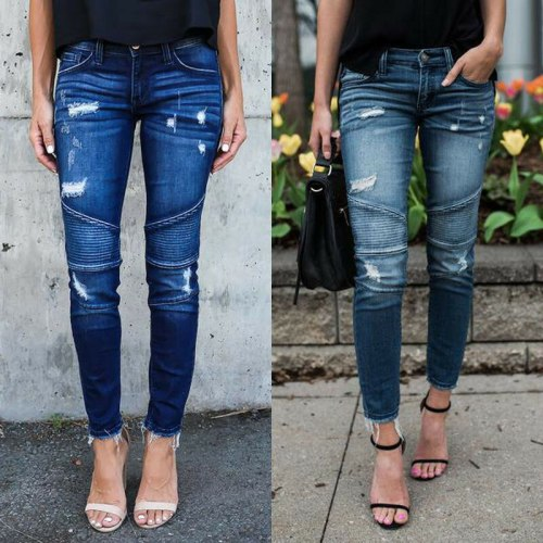 New Hot Women High Waist Denim Skinny Pants Ripped Destroyed Stretch Jeans
