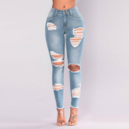 Woman's  High Waist Fashion Denim Hole High Waist Stretch Slim Pant
