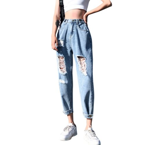 Fashion Vintage Ripped  For Women  High Waist Blue Jeans