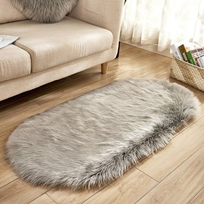 Oval Soft Faux Fur Carpet Sheepskin Area Mat Home Living Room Decor Rugs