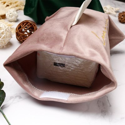 Nordic Tissue Box Embroidery Velvet Tissue Storage Box