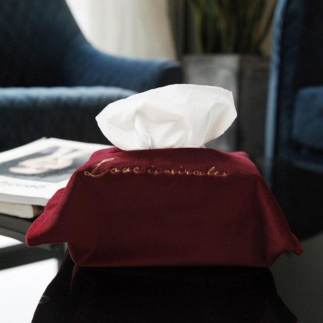 Nordic Tissue Box Embroidery Velvet Tissue Storage Box