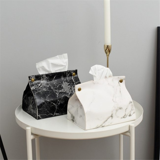 Chic Tissue Case Box PU Leather Marble Pattern Box Case
