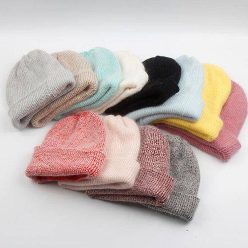 Rabbit Fur Beanie Hat for Women Winter Knitted Hats