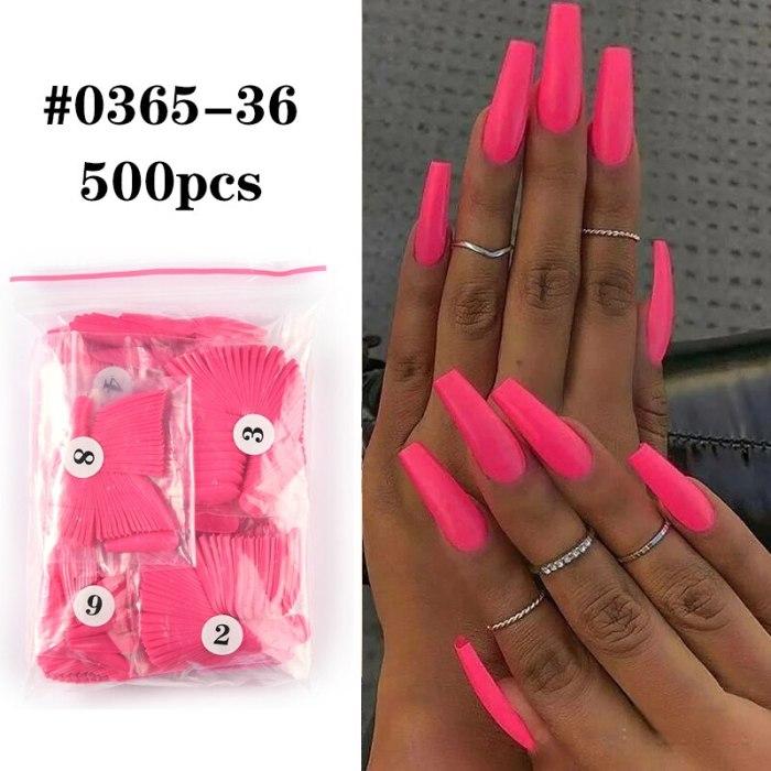 500pcs Colorful False Nails Tips Coffin Nails