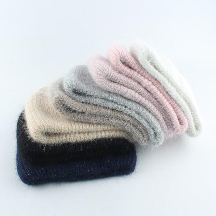30% Rabbit Fur Beanie Hat Women Winter Hats