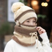 3 Pieces Winter Beanie Hat Scarf and Mask Set