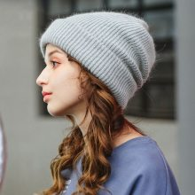 Rabbit Fur Beanie Hat for Women Winter Knitted Hats