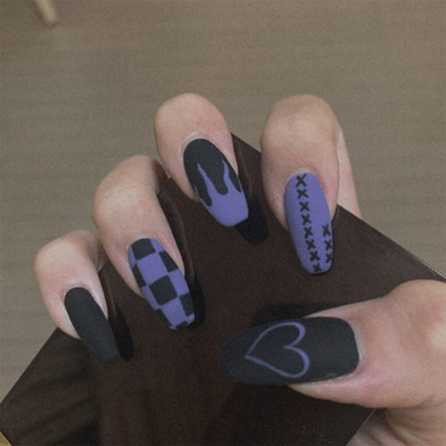 24pcs Fake Nails Coffin Shaped Full Nail Art Tips