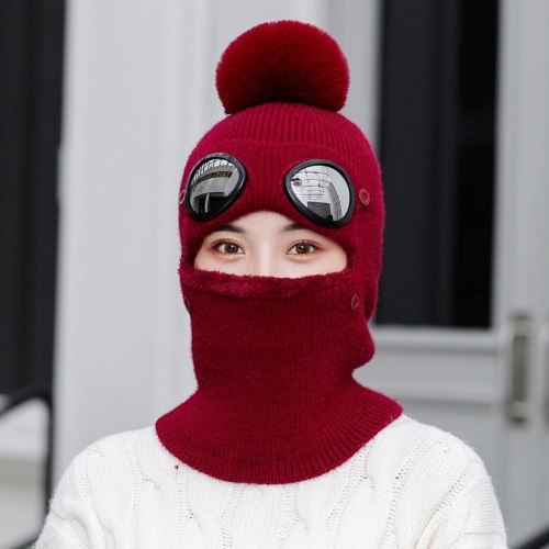 Winter Beanie Hats with Goggles Knitted Beanie Earflap Cap