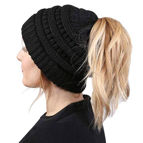 Women Ponytail Hat Beanie Knitted Cap