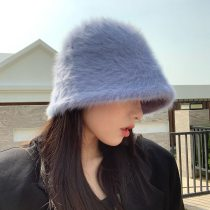 Women's Rabbit Fur Hat knitted wool Bucket Cap