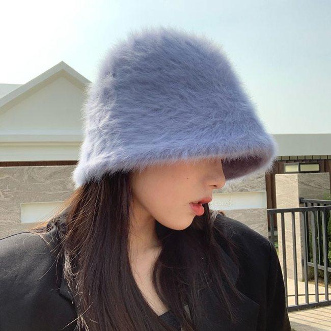 Women's Rabbit Fur Hat knitted wool Bucket Cap