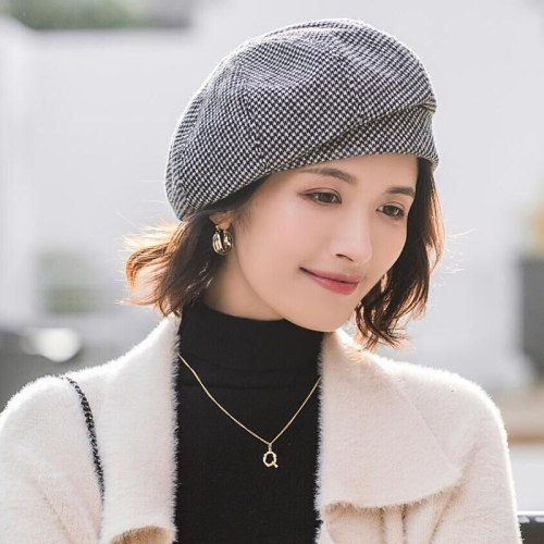 Elegant Women Plaid Beret Cotton Wool Painter Hat
