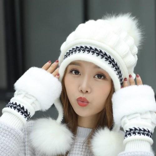 Winter Women Beanie Hats Scarf Set