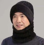 Mom Cap Knitted Hat Caps Neck Circle Scarf