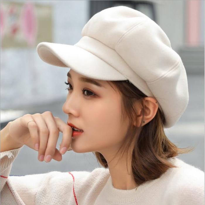 Women wool  Beret Octagonal Cap Hats
