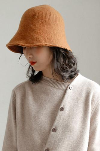 Women's Wool Bucket Hat Knitting Basin Cap