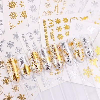 16pc/set Winter Xmas Stickers For Nails DIY Nail foil