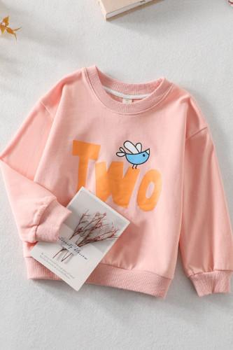 Baby Girls Round Neck Cartoon Pattern Sweater