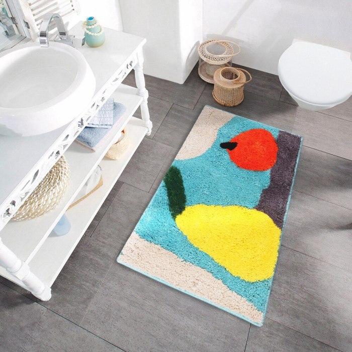 Soft Flocking Bath Mat Bathroom Door Mat