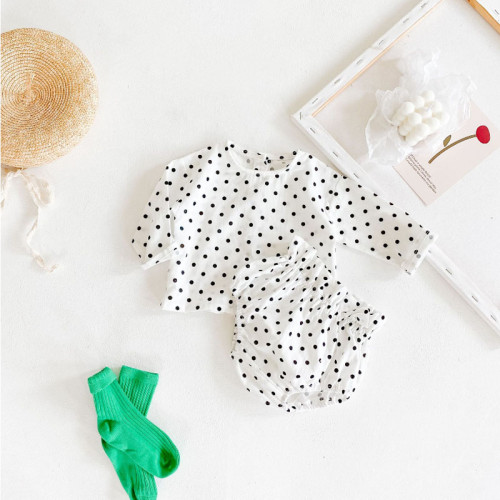 Baby Girls Cotton Polka Dot Top and Pants Set