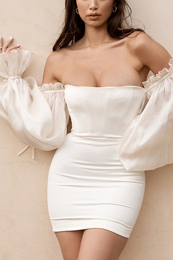 Womens Strapless Sleeveless Off Shouder Bodycon Dress