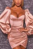 Women Backless Satin Mini Party Sexy Dress