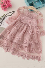 3-8Y Baby Girls Lace Flower Dress Princess Dress