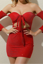 Women Hollow Out Strapless Tie-Up Bodycon Dress