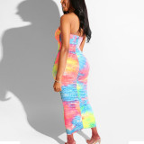 Women Ruched Sexy Strapless Bodycon Tie Dye Dress