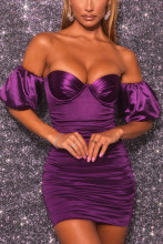 Women Off Shoulder Strapless Satin Bodycon Party Dress