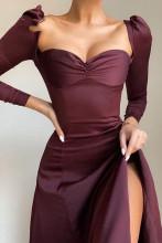 Women Strapless Solid Button Bodycon Dress