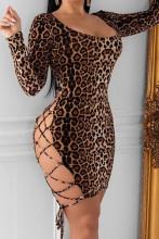 Backless Leopard Bandage Bodycon Dress