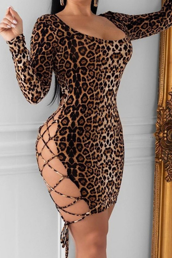 Backless Leopard Bandage Bodycon Dress