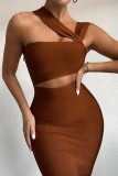 Women Strapless Hollow Out Party Bodycon Dress