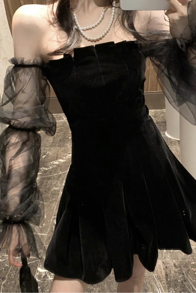 Vintage Off Shoulder Mesh Patchwork Velvet Mini Dress