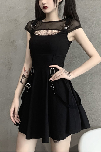 Gothic Black Dress Sexy Mesh Grunge Mini Dress