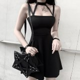 Punk Style Halter Black Mini Dress