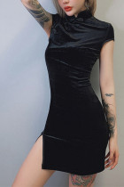 Women Gothic Punk Chinese Cheongsam Bodycon Dress