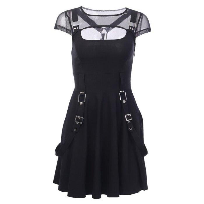 Gothic Black Dress Sexy Mesh Grunge Mini Dress