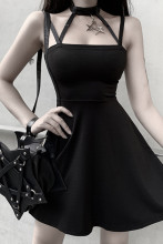 Punk Style Halter Black Mini Dress