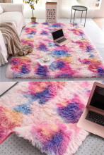 Rainbow carpet gradient tie-dye plush rug baby crawling mat