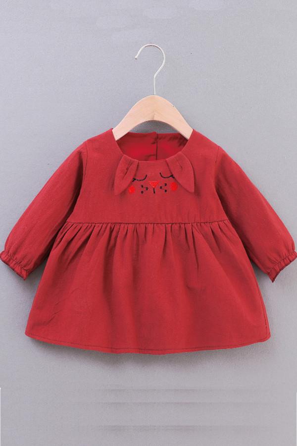 Baby Girls Long Sleeve Cartoon Pleated Dress
