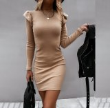 Women Knitted Long Sleeve Solid Bodycon Dresses
