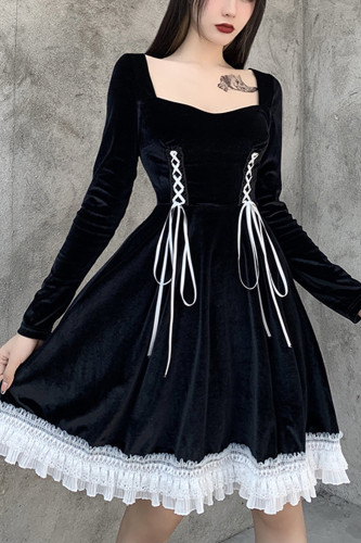 Black Long Sleeve Mini Dress Gothic Aesthetic Dresses