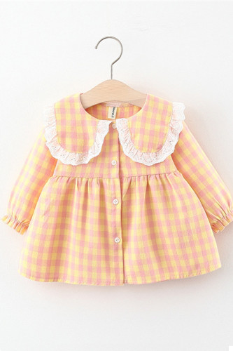 Baby Girls Fresh Plaid Lace Doll Collar Dress